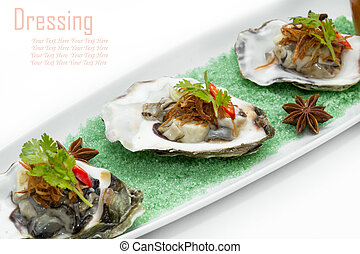 Fresh oysters with seafood sauce