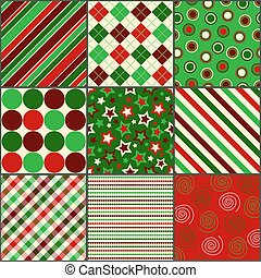 Nine Christmas Colored Patterns - Set of nine background...