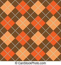Halloween Argyle - Background illustration of orange and...