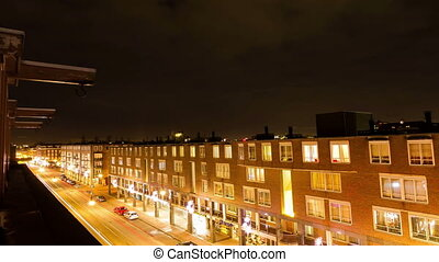 Amsterdam street night - Full HD time lapse video of a...