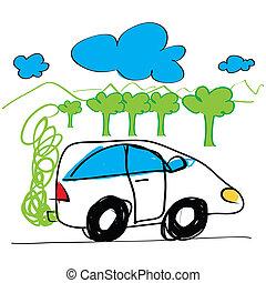 Sketch of car hand drawn