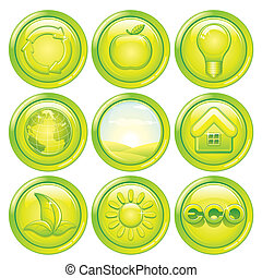 Ecology Icon Set. Set of Green Eco Buttons. Vector