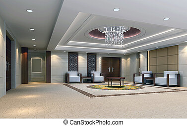 3d reception room rendering meeting room - a reception...