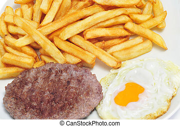 combo platter with fried egg, burger and french fries
