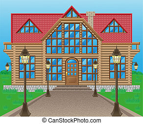 wooden house vector illustration on nature