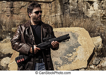 man with a shotgun