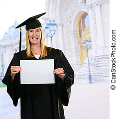Graduate Woman Holding a blank paper in front of the...