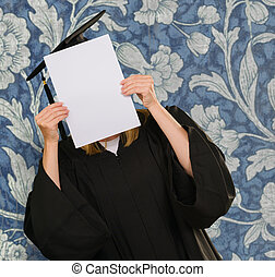 Graduate Woman Holding Placard On Wallpaper