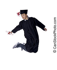asian guy graduate jumping - Portrait of Asian guy graduate...