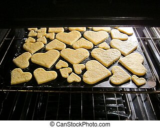 Valentine's heart love cookies - Baking fresh homemade /...