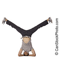 dancer with head stand - Asian male dancer with head stand...