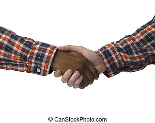 frienship handshake - Close up hands of a black and white...