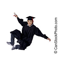 graduated student jumping while holding his diploma - Full...