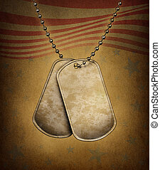 Dog Tags Grunge - Dog Tags on an old grunge texture with the...