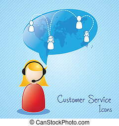 Customer Service icons - Customer service agent on blue...