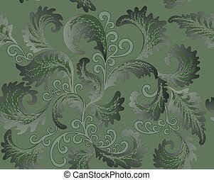 green foliate pattern - foliate pattern in the Rococo style...
