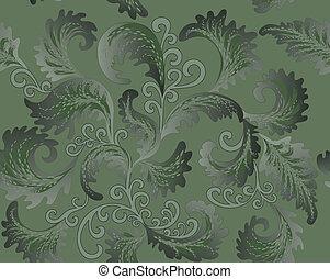 green foliate pattern - foliate pattern in the Rococo style...