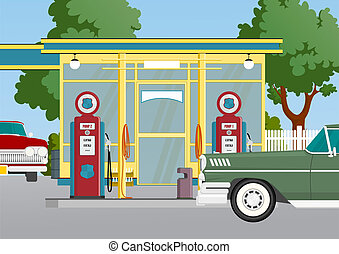 retro gas station - small gas station with service, cartoon...