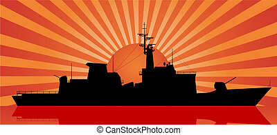 sunset at sea - Silhouette of battleship and sunset at sea
