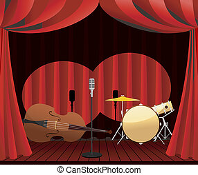 stage for Jazz show, vector illustrations
