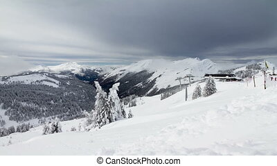 Alps chairlift - Full HD time lapse video of a ski area with...