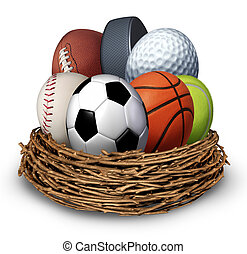 Sports Nest - Sports nest concept with a football basketball...