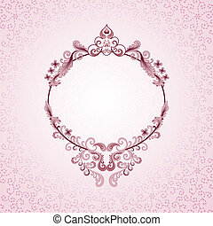 pink oval frame - oval frame with curls and flowers - on a...