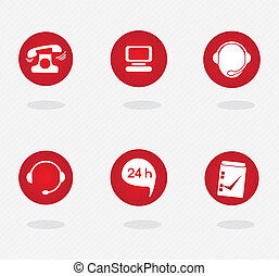 Customer Service icons (colletion of buttons), on grey...