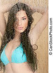 woman in bikini behind glass - Pretty woman in bikini behind...
