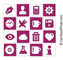 Web and simple pictograms set isolated