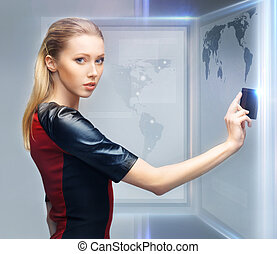 woman with access card - picture of futuristic woman with...