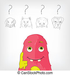 Funny Monster - Cartoon Character Funny Monster Vector...