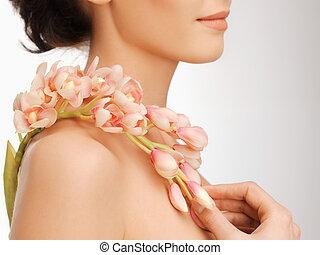 肩, 花, 女性, 保有物, 手, 蘭