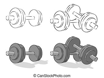 Vector simple dumbbells, isolated on white background