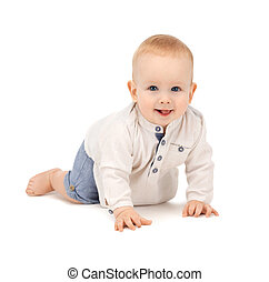 crawling baby boy - bright closeup picture of crawling baby...