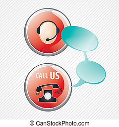 Customer Service icons - Customer service agent buttons, on...