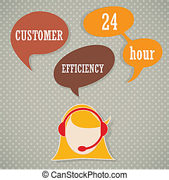 Customer Service icons - Customer service operator with...