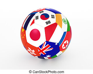 soccer ball with flags - 3d rendering of a soccer ball with...