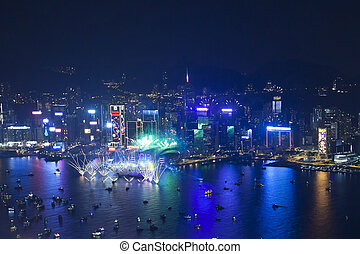 Hong Kong 2013 countdown fireworks - HONG KONG - 1 JANUARY,...