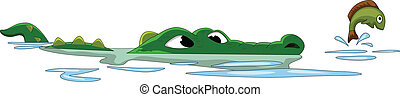 crocodile hunting fish on the water - vector illustration of...