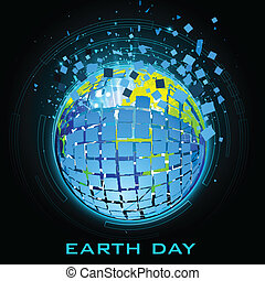 Earth Day - illustration of breaking earth on technology...