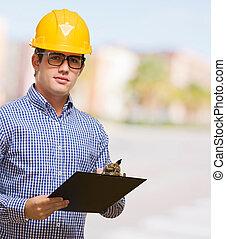 Stående, skrivplatta, holdingen, ingenjör