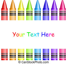 Vector frame with colorful crayons