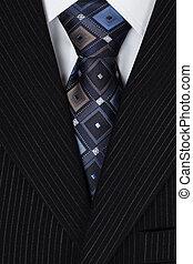 blanco, camisa, azul, corbata, hombres, Traje