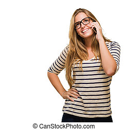 Happy Woman Using Cell Phone against a white background