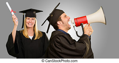 Graduate Student Holding Megaphone And Certificate On Gray...
