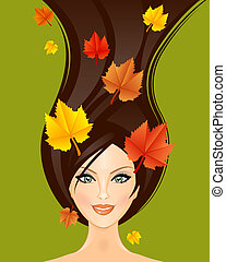 Vector illustration of autumn woman