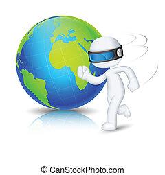 3d Man running around Globe