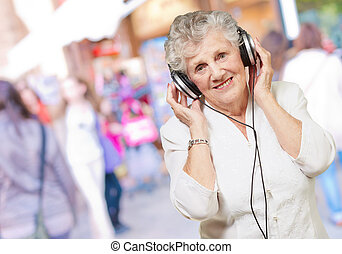 Portrait Of A Woman, While Listening Music, Outdoor