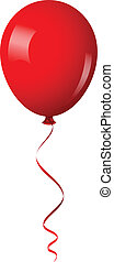 red shiny balloon with ribbon - Vector illustration of red...